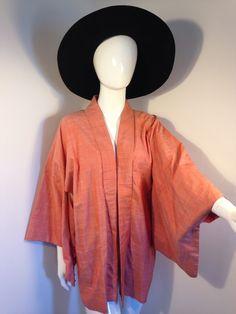 Vintage kimono jacket orange silky arty boho 70s peace vintage by Peacevintageshop on Etsy