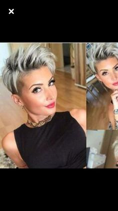 This Pin was discovered by cla Edgy Short Haircuts, Short Hairstyles For Women, Messy Hairstyles, Short Hair Cuts, Short Hair Styles, Hair 2018, Great Hair, Silver Hair, Hair Today