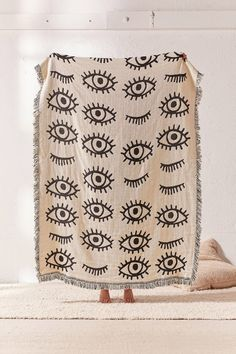 Calhoun & Co. X UO Allover Eyes Woven Throw Blanket | Urban Outfitters