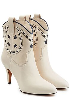 Boots made for walking, this cowboy silhouette from Marc Jacobs is a statement way of adding edge to your new season edit. Embossed navy detail adds depth to the bright ivory finish, while a small heel will elevate your look in an instant  #Stylebop
