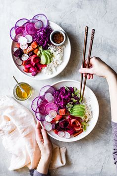With tangy marinated sweet beets, short-grain rice, and a mess of colorful vegetables, these vegan poke bowls are as lovely to eat as they are to look at. Clean Eating Recipes, Raw Food Recipes, Vegetarian Recipes, Healthy Recipes, Healthy Bowl, Healthy Eating, Eating Vegan, Bojon Gourmet, Sushi
