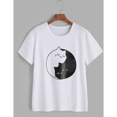SheIn(sheinside) Cats Print Tee ($10) ❤ liked on Polyvore featuring tops, t-shirts, white, cat print t shirt, cotton blend t shirts, white cat t shirt, cat top and short sleeve tee