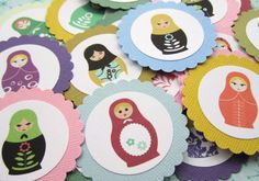 Matryoshka Babushka Russian Dolls Favor Tag for Birthday Baby Shower Bridal Wedding Party T005 -- Set of 12. $3.85, via Etsy.