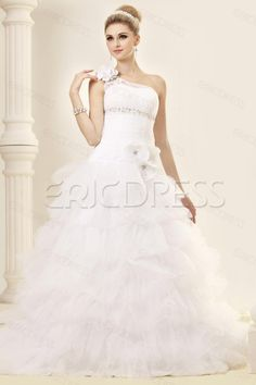 Sumptuous A-Line One-Shoulder Chapel Train Tiered Wedding Dress Wedding Dresses 2014- ericdress.com 9691053