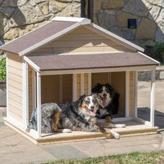 Two Dog Dog House with Covered Porch. Suitable for two Small or Medium Dogs. Comes with center divider for use or removal. Asphalt Roof Cream color