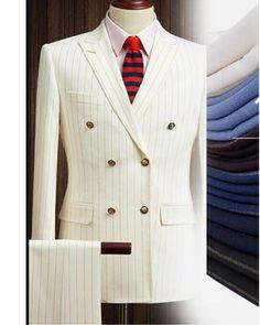 mens_fashion - Peak Lapel Double Breast Beige Stripe Men Wedding Suit for Men 2 Pieces(Jacket + pants ) Dress Suits For Men, Suit And Tie, Men Dress, Gentleman Mode, Gentleman Style, Wedding Men, Wedding Suits, Budget Wedding, Wedding Venues
