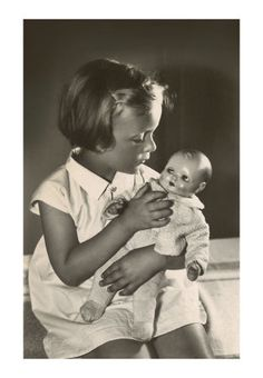 """little girl with her doll - this was my doll """"Bubbles"""" when I was young.  She was the one and only one for me."""