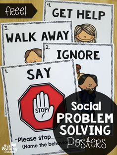 Problem Solving Posters {FREE FREE Social Problem Solving Posters - great for the classroom wall! - This Reading MamaFREE Social Problem Solving Posters - great for the classroom wall! - This Reading Mama Social Skills Activities, Teaching Social Skills, Social Emotional Learning, Teaching Art, Therapy Activities, Teaching Tips, Relation D Aide, Conscious Discipline, School Social Work