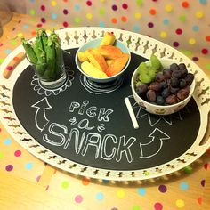 Chalkboard tray for party snacks.