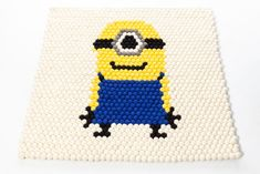 Minion rug created in the Design Tool on RugThis.com Create an amazing and unique felt ball rug ! Felt Ball Rug, Custom Rugs, Tool Design, Minions, Create Yourself, Amazing, Unique, Handmade, Art