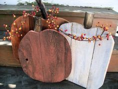 Wood rustic pumpkins set fall farmhouse porch fall entryway fall home decor in orange and white Autumn decorations primitive pumpkins Rustic Pallet Wood pumpkin Fall Halloween, Halloween Crafts, Halloween Decorations, Autumn Decorations, Halloween Pallet, Rustic Halloween, House Decorations, Christmas Decorations, Pallet Crafts