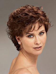 Beautiful short hairstyles for curly hair with side bangs for women with round faces and dark copper brown hair color