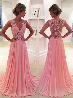Classic A-Line V-Neck Court Train Pink Prom Dress/Evening Dress with Appliques