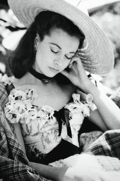 Vivien Leigh resting in the set of Gone with the Wind, 1939.