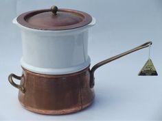 large Douro B M copper steamer pan w/ china insert, Benjamin & Medwin