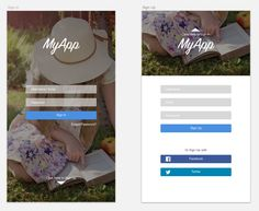 Sign In and Sign Up design for Mobile App