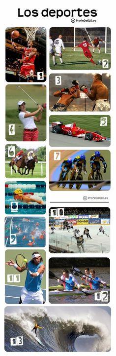 A2 - Vocabulario de los deportes - ProfeDeELE.es | Presentación y actividad online para practicar el vocabulario de los deportes.
