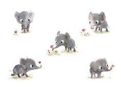 Illustration by Sydney Hanson Elephant Illustration, Cute Animal Illustration, Cute Animal Drawings, Children's Book Illustration, Cute Drawings, Animal Illustrations, Drawing Sketches, Elephant Love, Little Elephant