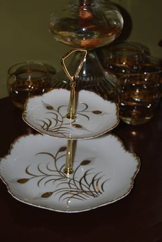 Lefton 2 Two Tier Serving Plate Wheat Design by TwinsTreasureTrove, $25.00