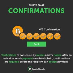 Ever wondered what Crypto confirmations are? Confirmations are verifications of consensus by miners and/or nodes. After an individual sends payment on a blockchain, confirmations are required before the recipient can accept payment. Yesterday And Today, Crypto Currencies, Mobile Application, List, Confirmation, Blockchain, Cryptocurrency, You Got This, How To Get