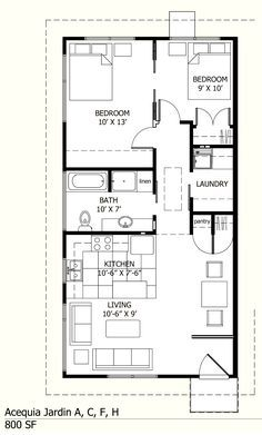 I like this one because there is a laundry room! :-) 800 sq ft floor plans - Bing Images