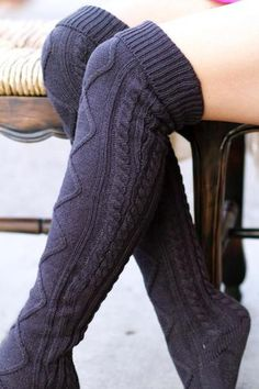 Thigh High Cable Knit Boot Sock (Charcoal)
