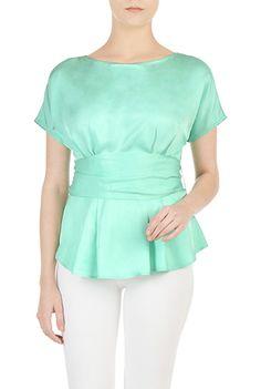 Sash waist peplum tencel blouse from eShakti