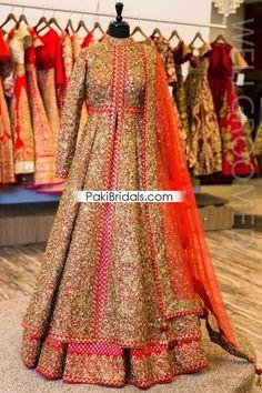 Dori/Sequins Lacha with Banarsi Lengha – Wellgroomed Designs Indian Wedding Gowns, Pakistani Wedding Outfits, Indian Bridal Lehenga, Indian Bridal Outfits, Indian Gowns, Indian Designer Outfits, Red Lehenga, Pakistani Dresses, Wedding Dress
