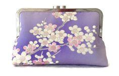 Pochette de soie lilas Floral soie sac par SimplySilkScarves