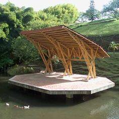 Techo de escenario Bamboo Roof, Bamboo Bar, Bamboo Garden, Bamboo Structure, Timber Structure, Shade Structure, Bamboo Architecture, Sustainable Architecture, Architecture Details