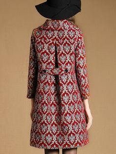 To find out about the Red Lapel Long Sleeve Jacquard Pockets Coat at SHEIN, part of our latest Coats ready to shop online today! Red Frock, Long Jackets For Women, Kurta Designs, Dress Sewing Patterns, Madame, Coat Dress, Apparel Design, Types Of Sleeves, Mantel