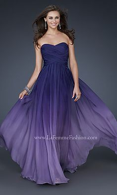Full length strapless ombre gown by La Femme.