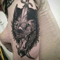 Wolf traditional tattoo arm knife