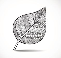 Clipart vectoriel : Black zentangle leaf with ornament on white background. Vector illustration.