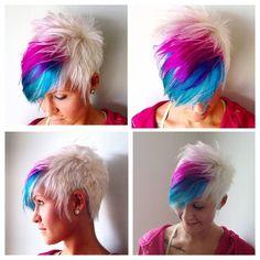 Pink, Blue and Platinum Blonde Pixie Cut