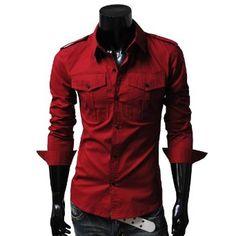 Amazon.com: TheLees Mens slim fit strap big pocket shirts: Clothing $29