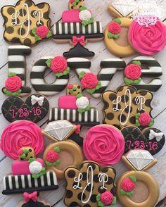 Kate Spade Set I'm submitting for this weeks #bakedesigneat wedding challenge. #weddingshowercookies #cookieoccasions #customcookies #decoratedcookies #sugarcookies #katespadecookies