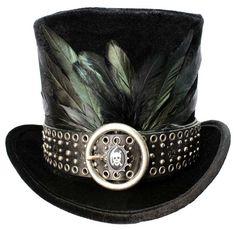 Tall Black Top Hat Gothic Skull Steampunk Gypsy Victorian Gentleman Mens  Formal -  black   514f01313887
