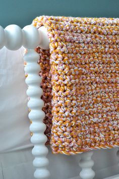 easy and quick baby blanket -- all single crochet, worked with 3 strands of yarn at once