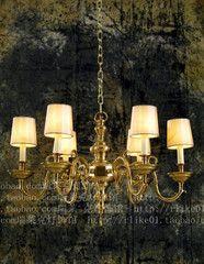 瑞莱克欧美式铜吊灯别墅客厅卧室铜灯美式乡村纯铜吊灯书房全铜灯