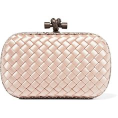 Bottega Veneta The Knot watersnake-trimmed intrecciato satin clutch ($1,625) ❤ liked on Polyvore featuring bags, handbags, clutches, blush, bottega veneta purse, pink clutches, pink polka dot purse, bottega veneta handbags and clasp purse