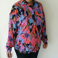 Floral painted art long sleeve shirt Never been worn and brand new long sleeve shirt. Buttoned until half way. Made out of 100% Rayon so it has a very comfortable feel on your skin. Tracy Reese Tops Blouses