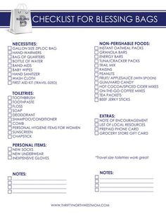 Blessing Bag Free Printable Checklist. Have a bag in the car, ready to give out when the opportunity arrives!