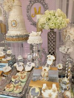 Gorgeous winter wonderland baby shower party! See more party planning ideas at CatchMyParty.com!