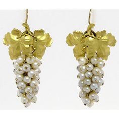 GOLD AND PEARL GRAPE EARRINGS