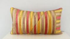 Velvet Stripes Geometric Decorative Pillow| Bold Colors,  Gold, Rose/Red, Taupe| Luxury| Unique Pillow| Lumbar| Home Decor