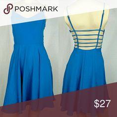 LUSH spaghetti strap/open back dress size LARGE LUSH spaghetti strap/open back dress size LARGE -blue -spaghetti straps - Flared skirt New without tags. (A) Lush Dresses