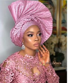 Side-Twisted Fan Gele [Pictures]: 6 Hot Gele Styles to Try on Your Next Aso-ebi Outfit (Gele Divas - NaijaGlamWedding Aso Ebi Lace Styles, African Lace Styles, African Lace Dresses, Latest African Fashion Dresses, African Print Fashion, Nigerian Fashion, African Wedding Attire, African Attire, African Traditional Wedding
