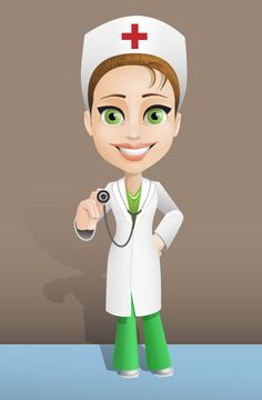 Female doctor vector character featuring tidy and neat look. Nurse Pics, Nurse Photos, Medical Clip Art, Medical Symbols, Nurse Cartoon, Girl Cartoon, Doctor Vector, Nurse Symbol, Character Inspiration