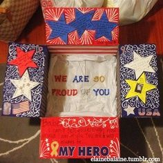 Hero / red, white and blue care package decorating idea